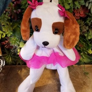 Stuffed White puppy dog with pink tulle tutu Back